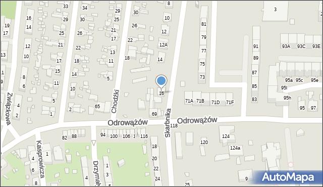 Gliwice, Skarbnika, 16, mapa Gliwic