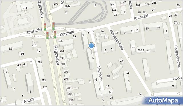 Łódź, Skupiona, 3, mapa Łodzi