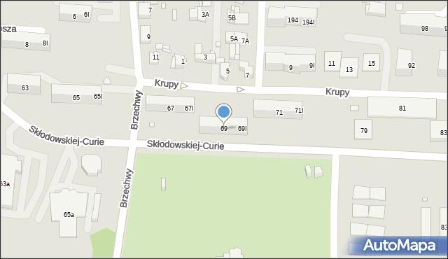 Piekary Śląskie, Skłodowskiej-Curie Marii, 69, mapa Piekary Śląskie