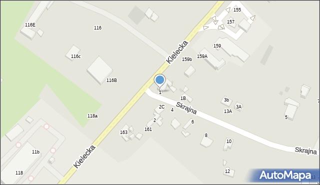 Radom, Skrajna, 1, mapa Radomia