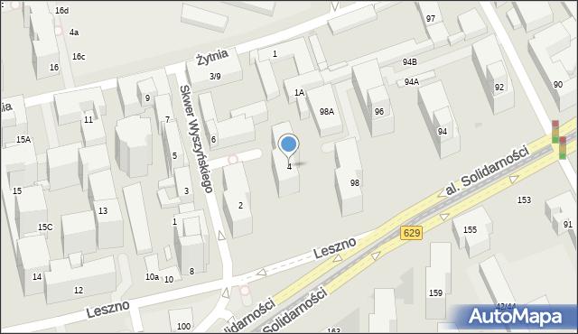 Warszawa, Skwer Wyszyńskiego Stefana, ks. kard., 4, mapa Warszawy