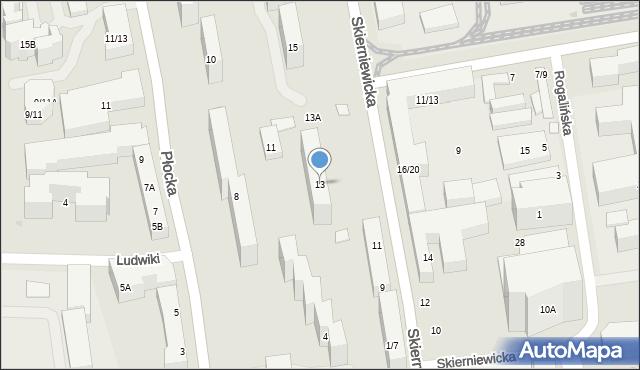 Warszawa, Skierniewicka, 13, mapa Warszawy