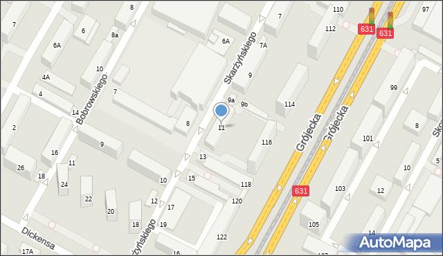 Warszawa, Skarżyńskiego Stanisława, 11, mapa Warszawy