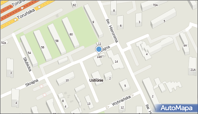 Warszawa, Skrajna, 14A, mapa Warszawy