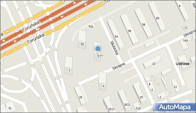 Warszawa, Skrajna, 3, mapa Warszawy