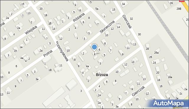 Brzoza, Słoneczna, 4, mapa Brzoza