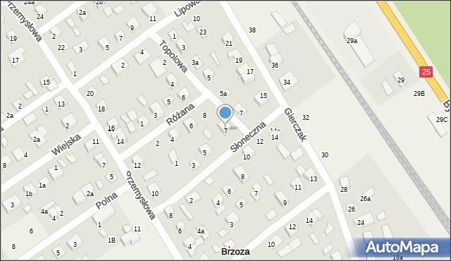 Brzoza, Słoneczna, 7, mapa Brzoza