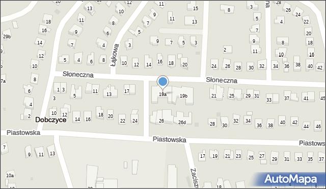 Dobczyce, Słoneczna, 19a, mapa Dobczyce