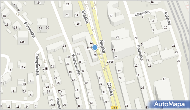 Gdynia, Śląska, 26, mapa Gdyni