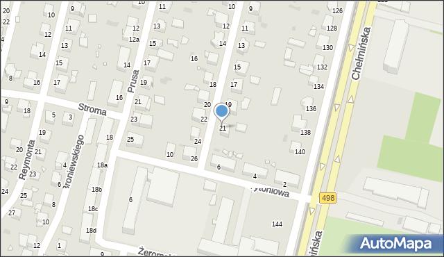 Grudziądz, Słoneczna, 21, mapa Grudziądza
