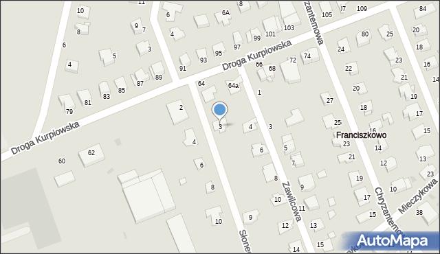 Grudziądz, Słonecznikowa, 3, mapa Grudziądza