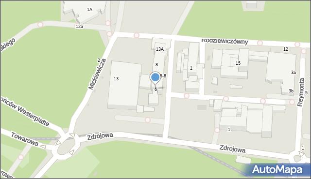 Kołobrzeg, Słowackiego Juliusza, 6, mapa Kołobrzegu