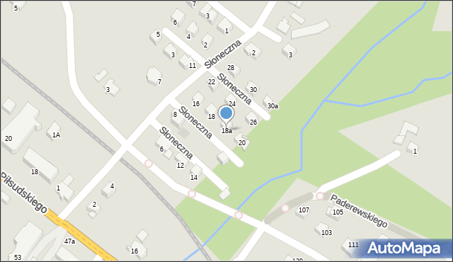 Limanowa, Słoneczna, 18a, mapa Limanowa
