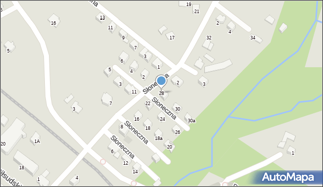 Limanowa, Słoneczna, 28, mapa Limanowa