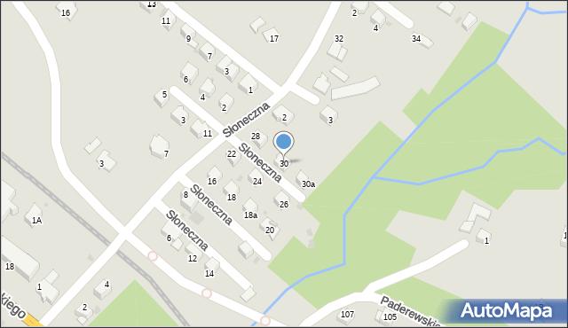 Limanowa, Słoneczna, 30, mapa Limanowa