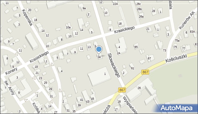 Lubaczów, Słowackiego Juliusza, 1a, mapa Lubaczów
