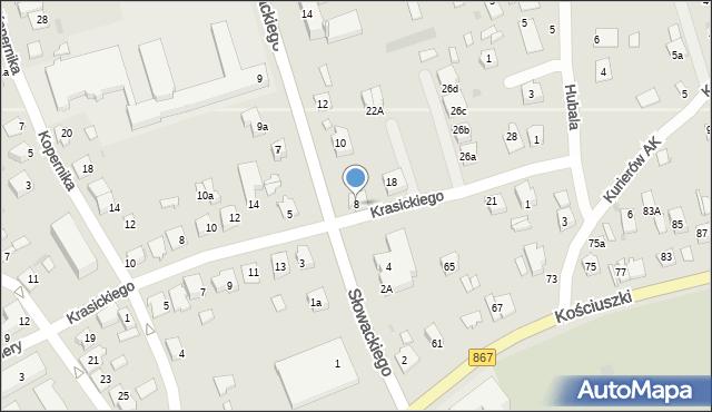 Lubaczów, Słowackiego Juliusza, 8, mapa Lubaczów