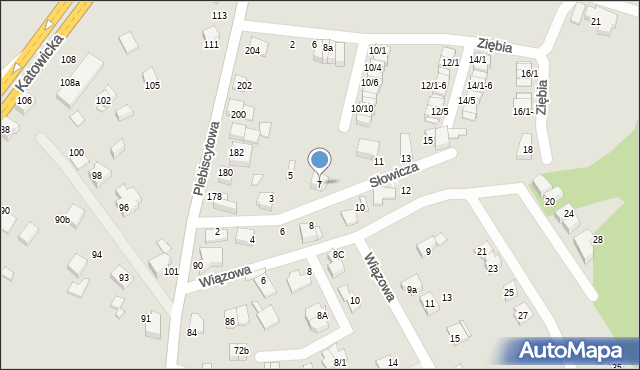 Mikołów, Słowicza, 7, mapa Mikołów