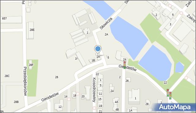 Mysiadło, Słowicza, 1A, mapa Mysiadło