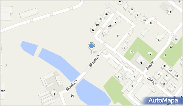 Mysiadło, Słowicza, 3, mapa Mysiadło