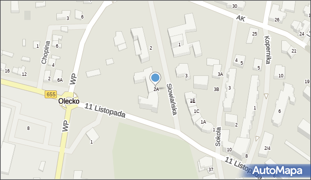 Olecko, Słowiańska, 2A, mapa Olecko
