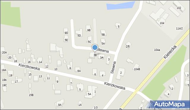 Radom, Sławna, 3B, mapa Radomia
