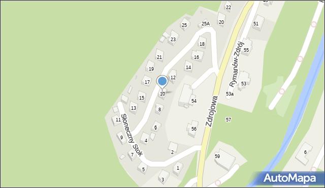 Rymanów-Zdrój, Słoneczny Stok, 10, mapa Rymanów-Zdrój