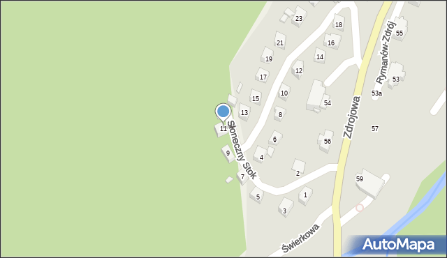 Rymanów-Zdrój, Słoneczny Stok, 11, mapa Rymanów-Zdrój