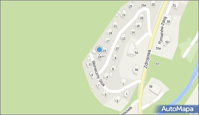 Rymanów-Zdrój, Słoneczny Stok, 13, mapa Rymanów-Zdrój