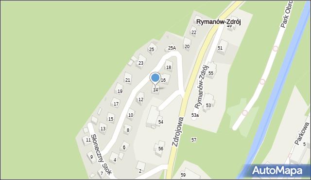 Rymanów-Zdrój, Słoneczny Stok, 14, mapa Rymanów-Zdrój