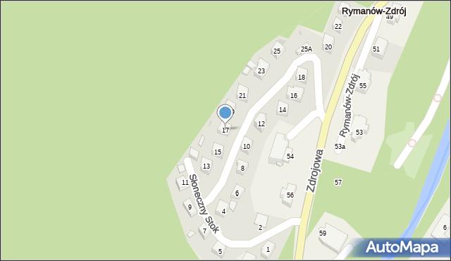 Rymanów-Zdrój, Słoneczny Stok, 17, mapa Rymanów-Zdrój