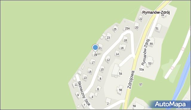 Rymanów-Zdrój, Słoneczny Stok, 19, mapa Rymanów-Zdrój