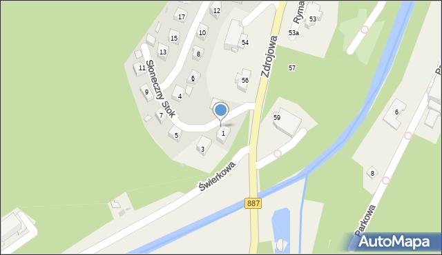 Rymanów-Zdrój, Słoneczny Stok, 1a, mapa Rymanów-Zdrój