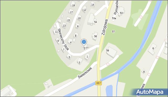 Rymanów-Zdrój, Słoneczny Stok, 2, mapa Rymanów-Zdrój
