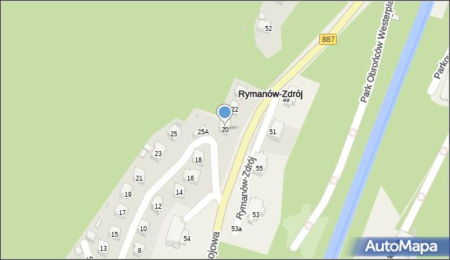 Rymanów-Zdrój, Słoneczny Stok, 20, mapa Rymanów-Zdrój