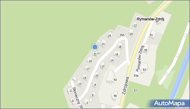 Rymanów-Zdrój, Słoneczny Stok, 21, mapa Rymanów-Zdrój