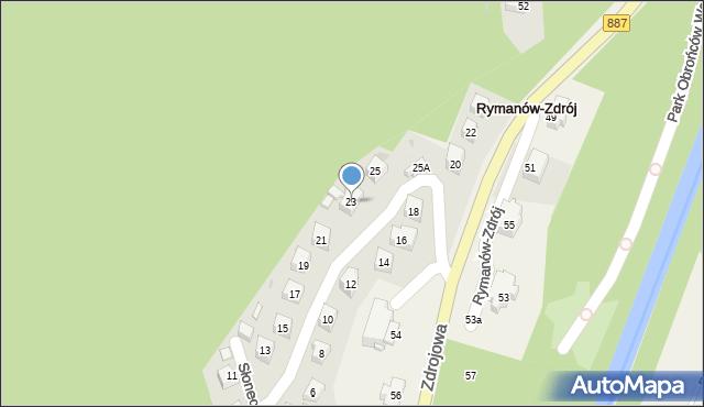 Rymanów-Zdrój, Słoneczny Stok, 23, mapa Rymanów-Zdrój
