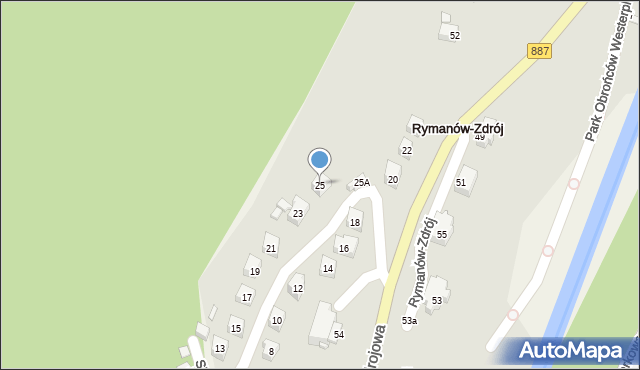 Rymanów-Zdrój, Słoneczny Stok, 25, mapa Rymanów-Zdrój