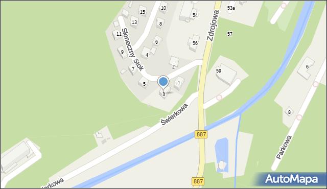 Rymanów-Zdrój, Słoneczny Stok, 3, mapa Rymanów-Zdrój