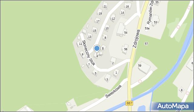 Rymanów-Zdrój, Słoneczny Stok, 4, mapa Rymanów-Zdrój