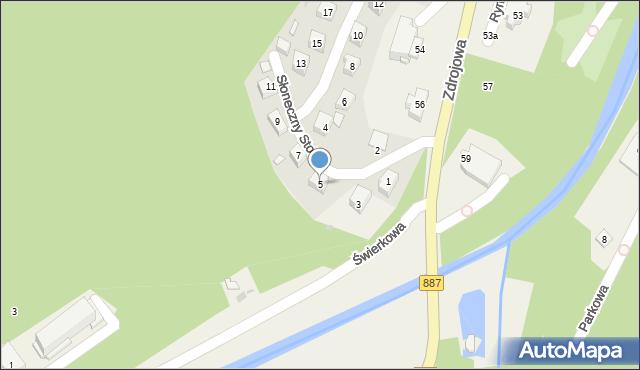 Rymanów-Zdrój, Słoneczny Stok, 5, mapa Rymanów-Zdrój