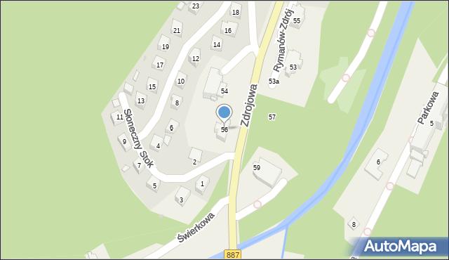 Rymanów-Zdrój, Słoneczny Stok, 56, mapa Rymanów-Zdrój