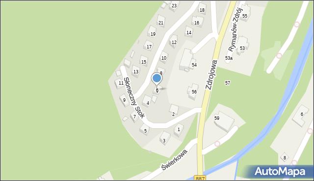 Rymanów-Zdrój, Słoneczny Stok, 6, mapa Rymanów-Zdrój