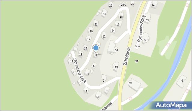 Rymanów-Zdrój, Słoneczny Stok, 8, mapa Rymanów-Zdrój