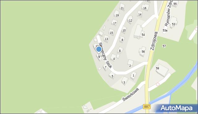 Rymanów-Zdrój, Słoneczny Stok, 9, mapa Rymanów-Zdrój