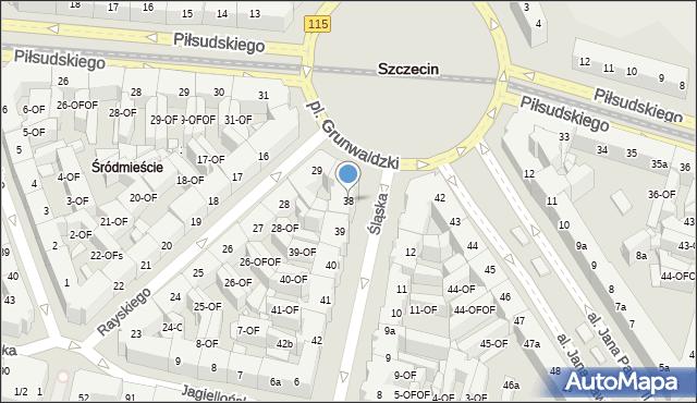 Szczecin, Śląska, 38, mapa Szczecina