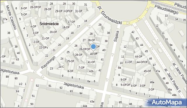 Szczecin, Śląska, 40-OF, mapa Szczecina