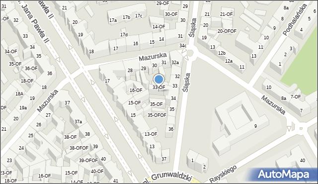 Szczecin, Śląska, 34-OF, mapa Szczecina