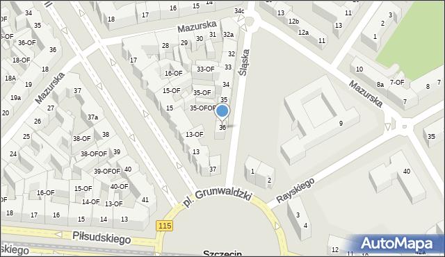 Szczecin, Śląska, 36, mapa Szczecina