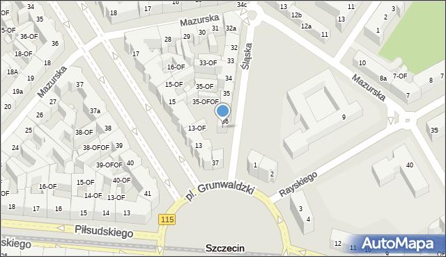 Szczecin, Śląska, 36a, mapa Szczecina
